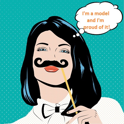Pop art illustration with girl holding mustache.